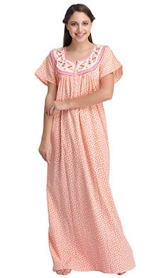 Cotton Printed Nighty With Embroidered Yoke - 54608