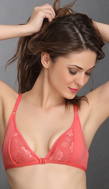 Cotton Rich Non-Padded Front Open Plunge Bra
