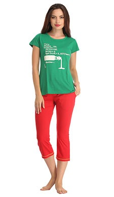 Cotton Round Neck Green Top & Red Capri
