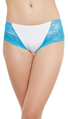 Cotton Spandex Hipster With Lacy Sides - White
