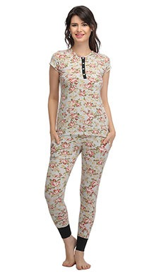 Cotton Spandex Top & Pyjama Set In Green