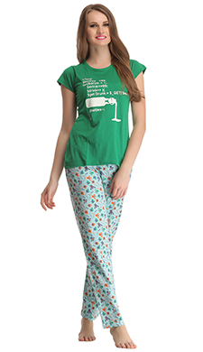 Cotton T-shirt & Pyjama Set In Green