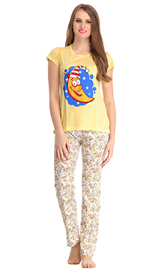 Cotton T-shirt & Pyjamas In Light & Golden Yellow