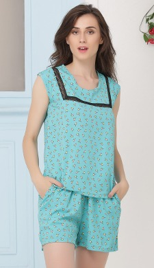 Crepe Bird Print Sleeveless Top & Shorts Set