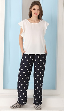 Crepe Top & Printed Georgette Pyjama Set