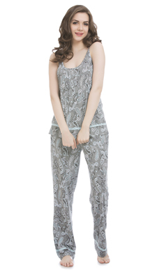 Dark Grey Camisole Top & Pyjama With Lacy Trims