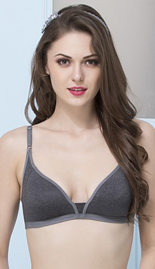 Dark Grey Cotton Non-Padded Non-Wired Everyday Bra With Demi Cups