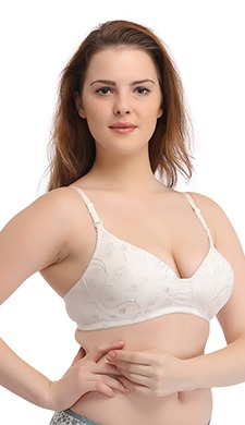 Demi Cup Padded T-Shirt Bra With Detachable Straps - White