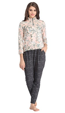 Floral High Neck Zippered Top with Contrasting Pyjama - Orange