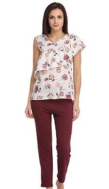 Floral Print Crepe Top & Pyjama Set