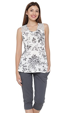 Floral Print Sleeveless Top & Cotton Capri Set