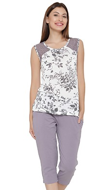 Floral Print Sleeveless Top & Cotton Capri Set - 64508