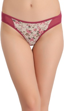 Low Waist Floral Print Thong with Powernet Sides