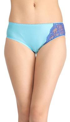 Glossy Mid-Waist Bikini With Lace Work - Blue