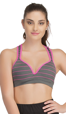 Push Up Bra In Dark Grey With Racerback