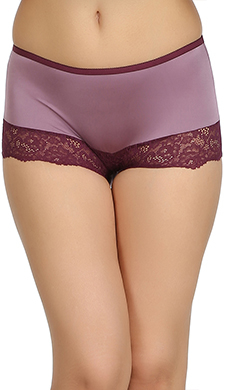 High Waist Hipster With Lace At Front - Purple