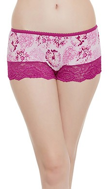 High-Waist Printed Boyshorts with Lace Panels