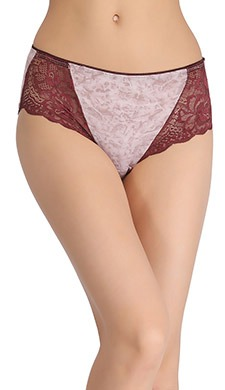 High Waist Textured Print Hipster With Lacy Side Wings - Beige