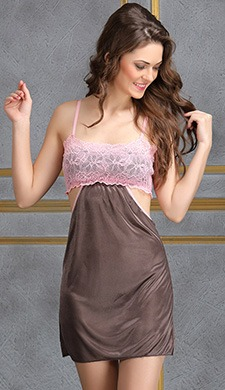 Lace Bodice Satin Babydoll with Thong