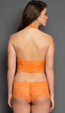 Set Of Lace Halter Style Bralet and Panty In Orange