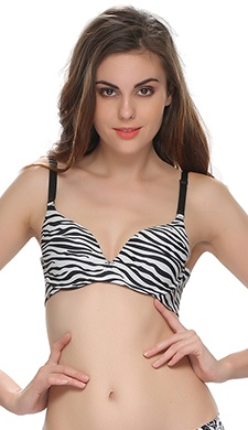 Cotton Laser Cut Padded Bra With Black Abstract Print