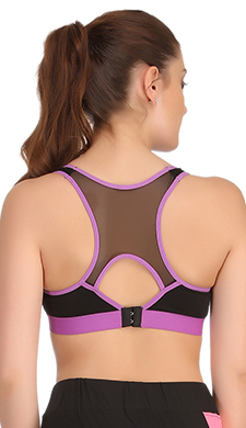 Padded Sports Bra In Black With Lavender TRIMS & Broad ELASTIC