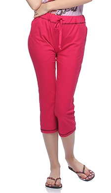 Soft Cotton Comfy Capri In Hot Pink