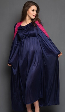 2 Pcs Satin Nightwear Set in Navy & Pink - Long Robe & Nightie