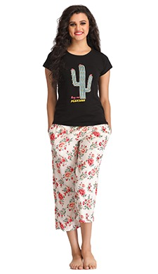 Cotton Graphic Print Top & Capri Set - Black