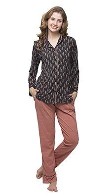 Cotton Rich Printed Button-Down Shirt & Pyjama - Clovia Fashion Cotton Rich