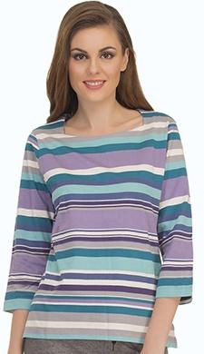 Colourful Stripe T-Shirt With Square Neckline