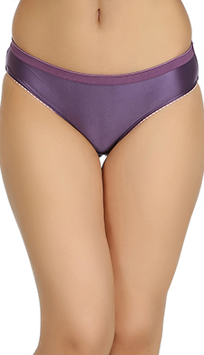 Mid Waist Bikini With Broad Elastic Waist Band - Purple