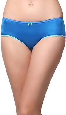 Mid Waist Bikini With Contrast Elastic At Leg - Blue