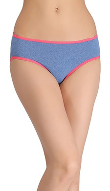Mid-Waist Bikini With Contrast Elastic Band - Blue
