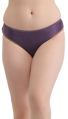 Mid Waist Bikini With Contrast Lace - Purple