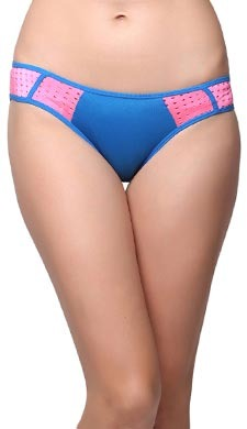 Mid Waist Bikini With Contrast Side Wings - Blue