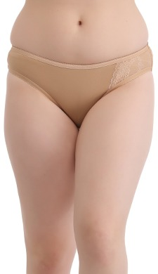 Mid Waist Bikini With One Side Lacy Wing - Beige