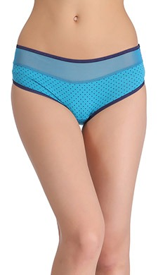 Mid-Waist Hipster With Contrast Elastic Band & Powernet At Waist - Blue