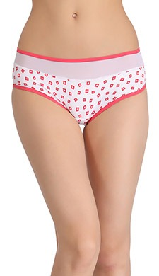 Mid-Waist Hipster With Contrast Elastic Band & Powernet At Waist - White