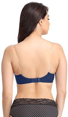 Non-Padded Non-Wired Bra with Detachable Transparent Straps