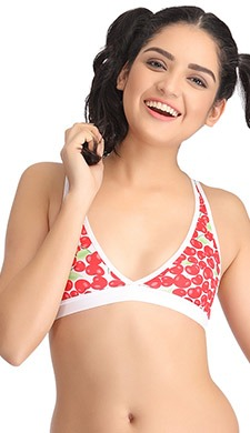 Non-Padded Non-Wired Cherry Print Beginner's Bra