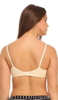 Non Padded Wirefree Cotton Bra In Beige