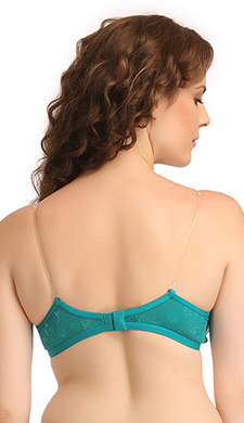 Non-Padded Wirefree T-Shirt Bra With Double Layered Cups & Detachable Straps - Green