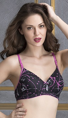 Non-Wired Printed T-shirt Bra with Detachable Straps