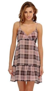 Pink Babydoll With Chic Checks