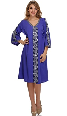 Floral printed classy robe in blue