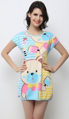Long Night T-Shirt With Cute Prints - 20858
