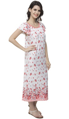 Long Nightdress With Cute Floral Prints - 20879