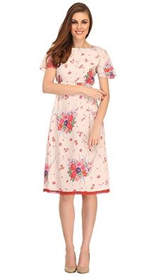 Floral Printed Short Dress In Ecru