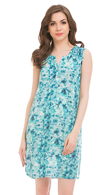 Cotton Round Neck Short Nighty  - Blue